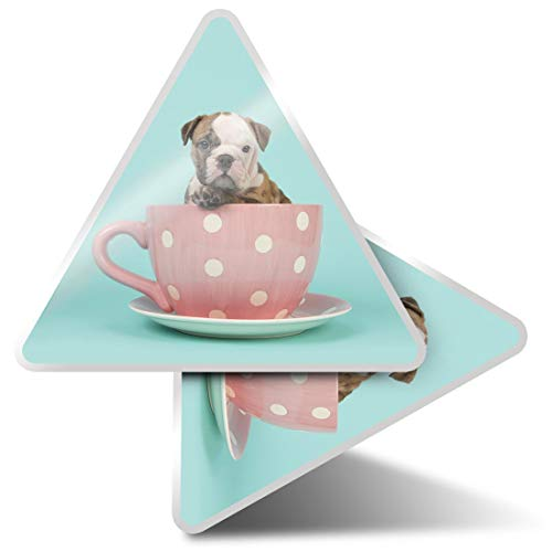 2 pegatinas triangulares de 10 cm – English Bulldog Teacup Dog Puppy Fun Calcomanías para ordenadores portátiles, tabletas, equipaje, reserva de chatarra, neveras #21499