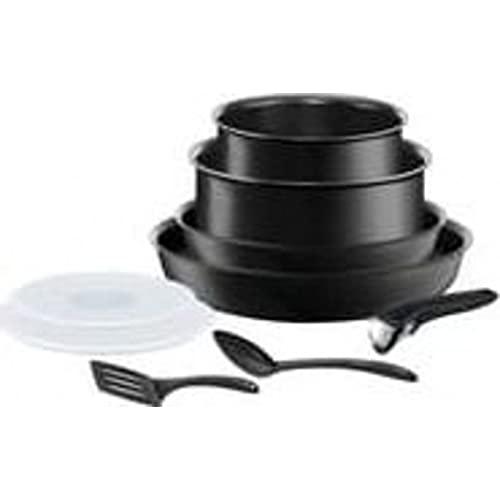 Tefal Ingenio Performance - Batería de cocina (9 piezas), color negro