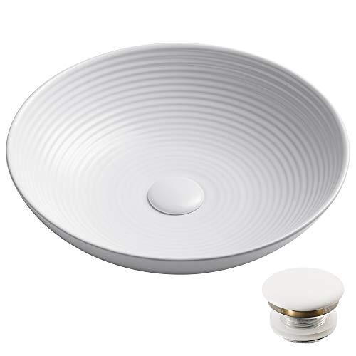 Kraus KCV-203GWH-20 Viva Porcelain Ceramic Vessel Bathroom Sink, Round 16 1/2 in. D x 4 3/8 in. H, White 16.5x 4.3 in