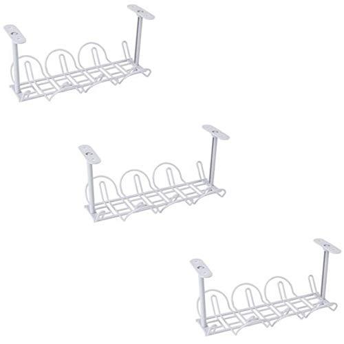 Kaxofang Paquete de 3 Bandejas de GestióN de Cables para Debajo del Escritorio: Organizador de Cables de 12,6 X 6,7 Pulgadas para la GestióN de Cables Cable MetáLico Resistente
