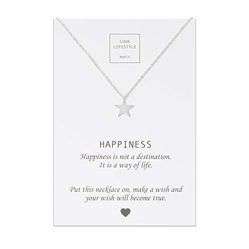 LUUK LIFESTYLE Edelstahl Halskette mit Stern Anhänger und Happiness Spruchkarte, Glücksbringer, Damen Schmuck, silber