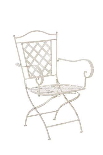 CLP Eisenstuhl Adara im Jugendstil I Outdoor-Stuhl mit Armlehnen I Handgefertigter Gartenstuhl aus Eisen I erhältlich, Farbe:antik-Creme