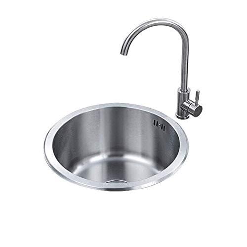 TONGSH Drop-in acero inoxidable fregadero de la cocina, cocina redonda fregadero de acero inoxidable Encimera Cocina Dibujo Tazón Escurridor hecho a mano sin fisuras cepillado del fregadero