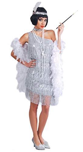 Guirca- Costume Charleston Anni '20/'30, Colore Argento, Taglia Unica, 80488