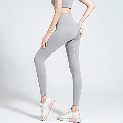 MQQM Leggings Push Up,Pantalones de Yoga Super elásticos de la Cadera, Medias Deportivas de Cintura Alta-Gris Claro_XL,Deporte opacos Pantalones