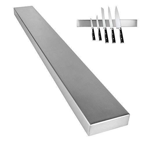 Küchen Fuchs® Magnetschiene - hochwertiger Edelstahl - extra starker Magnet - inkl. 3M VHB Klebeband - Ordnung und Schutz für Ihre Messer (Silber, Edelstahl)