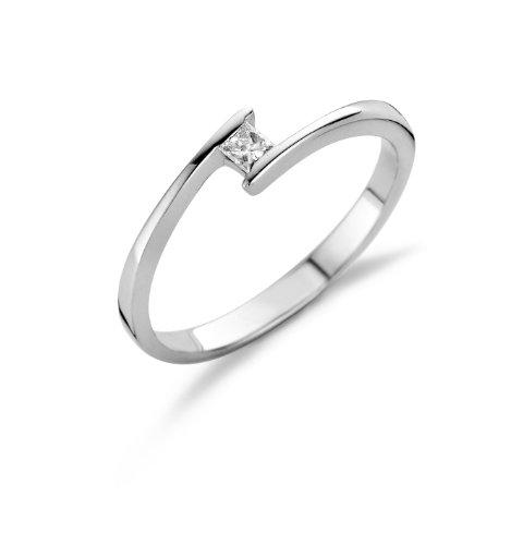 Miore Anillo solitario para mujer de oro blanco 14 quilates 585 con diamante de corte princesa 0.10 quilates