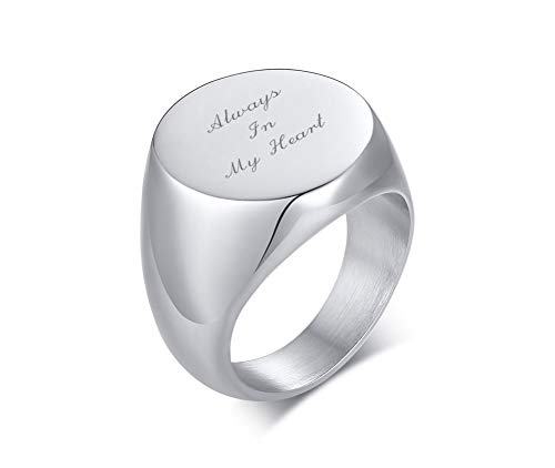 XUANPAI Customize Personalized Cremation Jewelry for Ashes Holder Cremation Urn Finger Signet Ring Ashes Ring Memorial Jewelry,Size V1/2