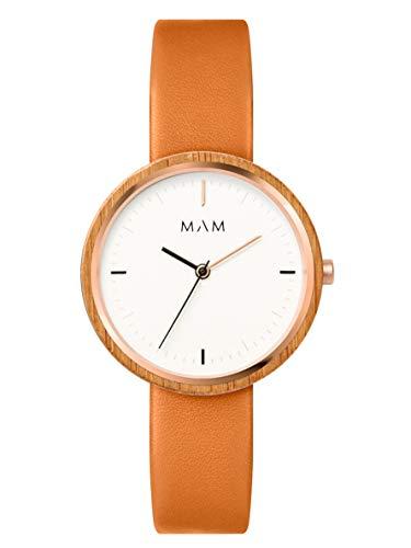 Reloj MAM Plano 668, para Mujer de Madera de bambú Natural FSC, Color Caramelo