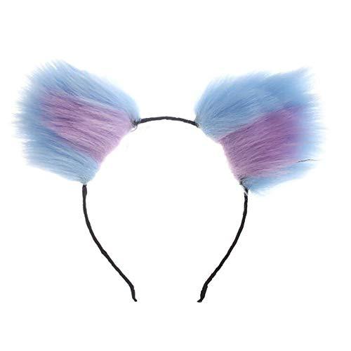 Diadema con orejas de zorro de lobo con orejas de piel sinttica para disfraz de anime o cosplay de Navidad