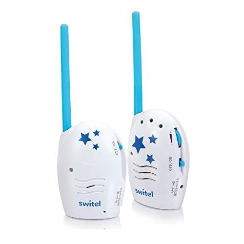 Switel BCC60 Audio Babyphone, störungsfreie DECT Technologie, Gegensprechfunktion, Lautstärkenregelung, Gürtelclip, weiß-blau