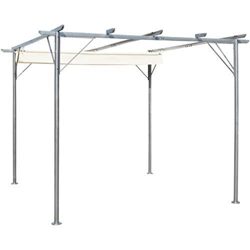 FAMIROSA Pérgola con tejado retráctil Acero Color Blanco Crema 3x3 m