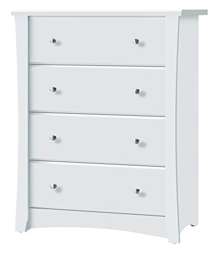 %12 OFF! Storkcraft Crescent 4 Drawer Chest, White Kids Bedroom Dresser with 4 Drawers, Wood & Composite Construction, Ideal for Nursery, Toddlers Room, Kids Room
