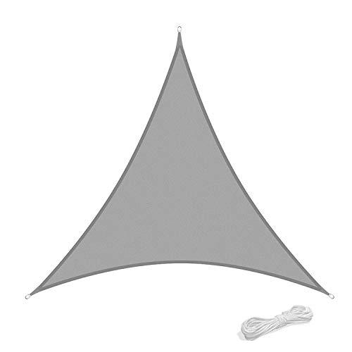 Qdreclod Sonnensegel 2x2x2m Sonnenschutz Garten Balkon Terrasse Party Wasserabweisend Wetterschutz Imprägniert Segel Baldachin 90% UV Schutz Markise mit Freiem Seil Dreieck Grau