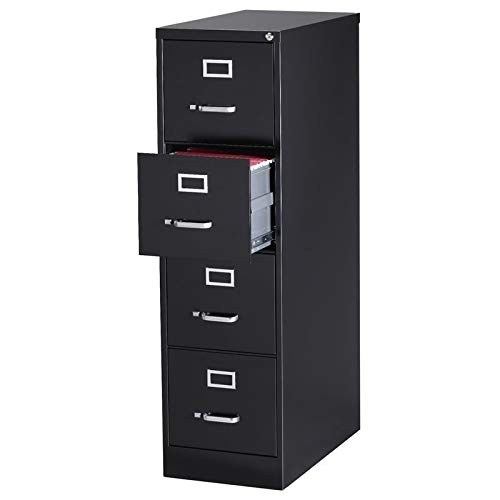 "Pemberly Row 4 Drawer 26.5"" Deep Letter File Cabinet in Black, Fully Assembled"