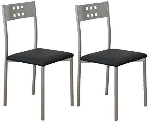 Miroytengo Pack 2 sillas Cocina Color Negro Costa Patas Gris Estilo Moderno 86x47x41