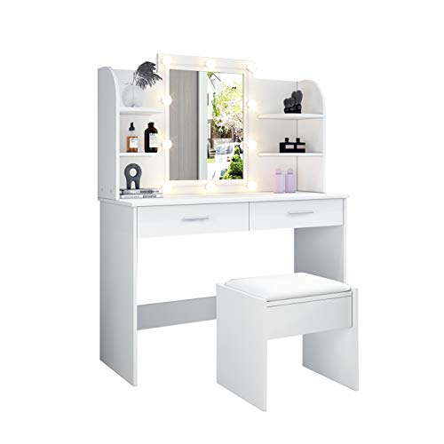 UNDRANDED Modern Dressing Table Organiser Set with 2 Drawers Makeup Dressing Desk Mirror with RGB LED Lights for Bedroom (White)