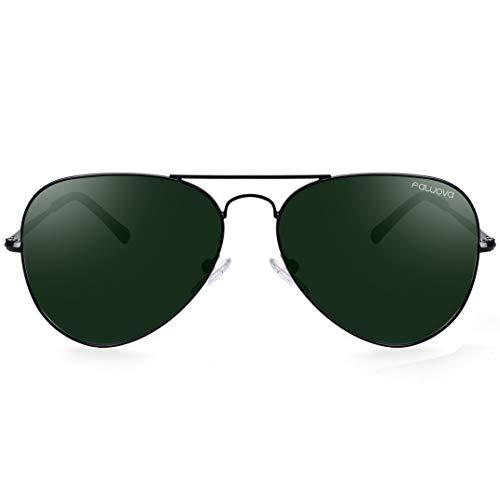 fawova Gafas Aviador Hombre Polarizadas con Lente Verde, Gafas Sol Hombre Polarizads Montura de metal Negro,Conducir, Pescar, Golf, Correr UV400, Cat.3 58mm(Negro, Verde)