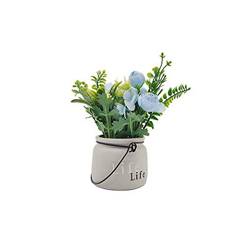 Twinkle Bubble 光触媒 造花 おしゃれ 花瓶付き 人工観葉植物 室内 インテリア 飾り 青い花 黄色 お花 盆栽 鉢植え 撮影 プレゼント ギフト (ブルー)
