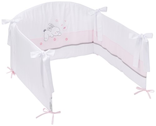 Easy Baby 820–38 Tour de lit avec broderie de qualité motif Rabbit, Env. 210 cm de long, rose