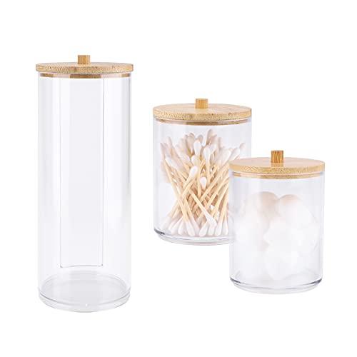 Paquete de 3 soportes de acrílico Qtip con tapas de bambú, recipientes de baño, dispensador de bolas de hisopo de algodón, soporte para organizador de almacenamiento de baño (transparente B)