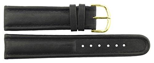 Correa de Reloj en Cuero Negro - 20mm - -Hebilla en Oro acero inoxidable - B20BlkItr10G