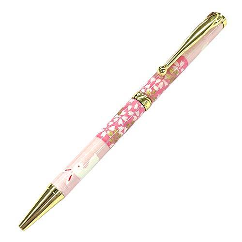 美濃和紙 ボールペン 油性 0.7 細軸 和柄 日本製 ツイスト式 高級 友禅柄 職人 手作り 色とりどり 32種類 (うさぎ市松 桃色)