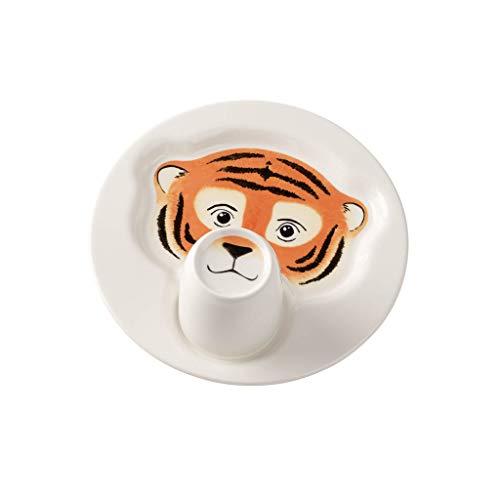 Villeroy & Boch Animal Friends Ensemble de vaisselle pour enfants avec motifs de tigre, 2 pièces, Porcelaine Premium, Blanc/Orange
