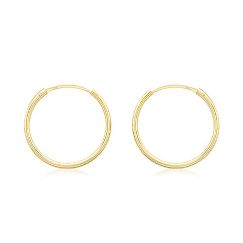 Carissima Gold Women's 9 ct Yellow Gold 1.2 mm Sleeper Hoop Earrings, 15 mm