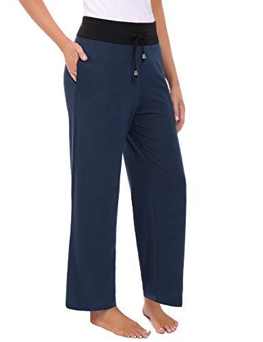 Abollria Donna Pantalone a Palazzo a Fiori Pantaloni Larghi di Vita Alta Casual Pantaloni Gamba Larga con Coulisse