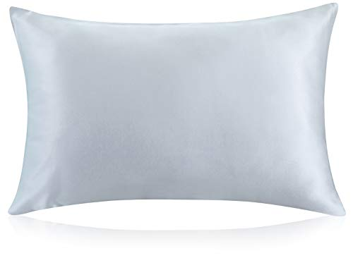 ZIMASILK 100% Mulberry Silk Pillowcase for Hair and Skin Health,with Hidden Zipper,Both Side 19 Momme Silk,1pc (Standard 20''x26', Light Gray)
