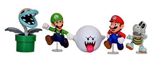 World of Nintendo Super Mario Boo Mansion Multipack - 2.5 Inch Action Figure Giftset (Mario, Luigi, Boo, Bone Piranha Plant, Dry Bones)