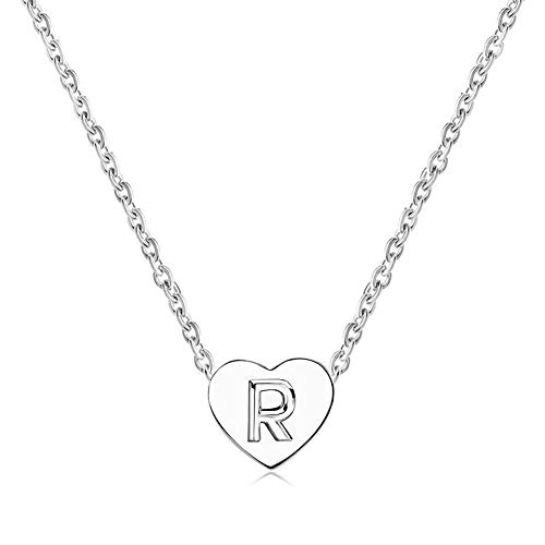MiniJewelry Silver Initial Letter Necklace Heart Pendant R Necklace Alphabet Charm Gift for Girlfriend Sister Daughter Birthday Anniversary