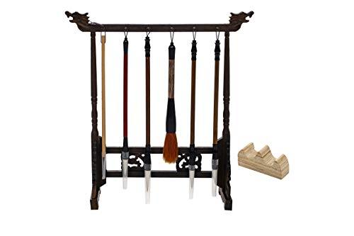 【BomberRabbit】毛筆 掛け 筆 スタンド 6本 掛け 木製 吊り タイプ 展示 (6本掛)