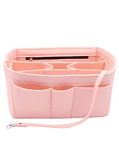 Felt Insert Fabric Purse Organizer Bag, Bag Insert In Bag with Zipper Inner Pocket Fits Neverfull Speedy 8010 Pink M