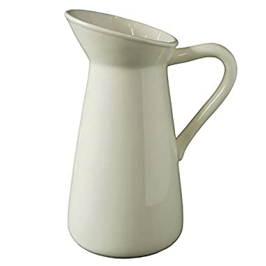 Hosley Cream Ceramic Pitcher/Vase - 10  High, for Flowers/Decorative Use. Ideal for Dried Floral Arrangements Gifts for Home, Weddings, Spa and Aromatherapy Settings O3