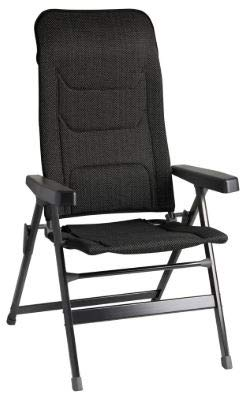 Brunner Rebel Pro (S-M-L) Klappstuhl für Camping, Garten, Terrasse aus Aluminium, 5-Fach verstellbar, belastbar bis 150 kg, hohe Rückenlehne, schwarz oder blau