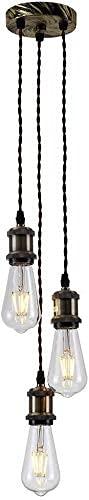 GXY bathtub Lámpara Colgante 3-Flame E27 Edison Lamp Holder DIY, Luces Colgantes Retro Vintage, araña de Altura Ajustable de Estilo Industrial Retro (sin Bombilla) [Clase de energía A ++]
