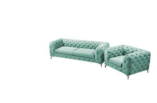 Wohnlandschaft 3+2 Chesterfield 3-Sitzer, 2-Sitzer Polstersofa Sofas Couch für Wohnzimmer Loungesofa Federkern Vintage Design MURCJA (Mintgrün)