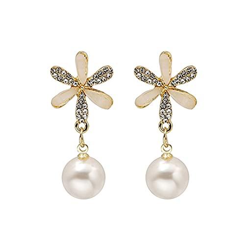 CandyT Pendientes Aguja de Plata Moda Coreana Flor Perla Diseño de Diamantes Pendientes Ins Temperamento Pendientes Oreja Joyería de Lujo (Oro)