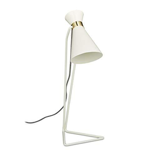 Relaxdays Schreibtischlampe geometrisch, Dreieckiger Fuß, Metall, Modern, HxBxT: 49 x 19 x 18 cm, Weiß
