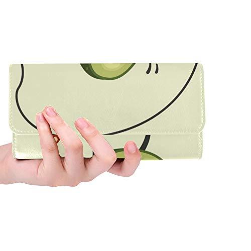 Einzigartige Nette Avocado-Zeichentrickfilm-Figur Macht Sprung-Frauen-dreifachgefaltete Geldbörse-Lange Geldbeutel-Kreditkarteninhaber-Fall-Handtasche
