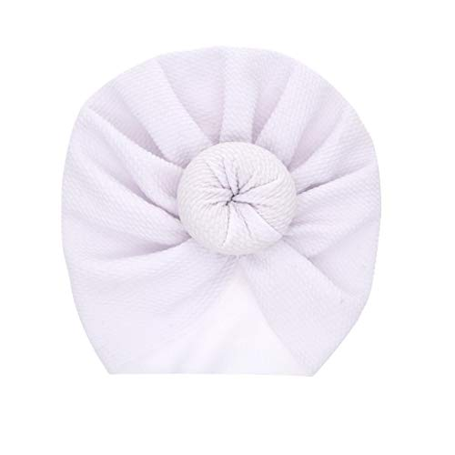 LABIUO 12 Couleurs Style Indien Noeuds Bonnet Bébé, Mode Chapeau Bandeau Turban Noeud Mou Tête Wraps pour Bébé Filles Bonnet Nouveau-Né Tout-Petits pour 0-2 Ans(Blanc,Taille Unique)