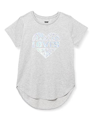 Levi's Kids LVG High Low Graphic Tee Shirt C766, Light Gray Heather, 14 Ans Fille