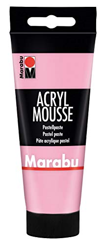 Marabu 12050050033 - Acryl Mousse rosa 100 ml, leichte Pastell - Acrylpaste auf Wasserbasis, luftige Konsistenz, zum Auftrag mit Malmesser und Pinsel auf Keilrahmen, Holz, Papier und Metall