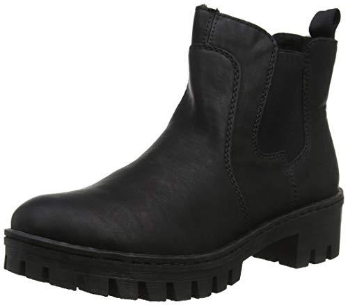 Rieker 75750 Damen Stiefel, Stiefelette, Schlupfstiefel, Boot, Chelsea Boot, extra weiche Decksohle schwarz (schwarz / 00), EU 38