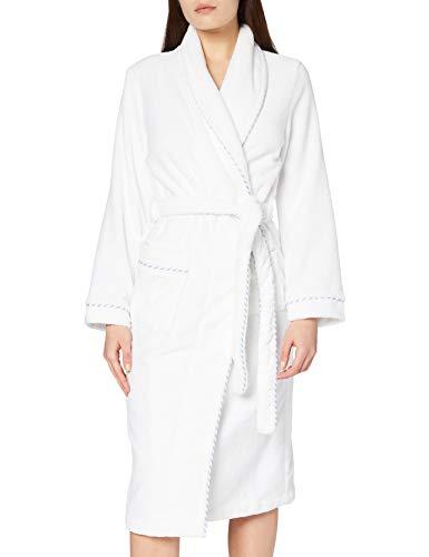 Calida Damen Bademantel After Shower, Einfarbig, Gr. 38 (Herstellergröße: XS 36/38), weiß (weiss 001)
