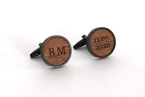 Holz Manschettenknöpfe personalisiert mit Gravur Initialien und Datum, Geschenk für Bräutigam, Schwarz mit Holz Nussbaum, Kirschbaum, Eiche