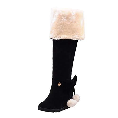 Xiand Stiefeletten Damen Bequem Overknee Stiefel mit Blockabsatz Comfort Kreuzgurt Hasp Glatt Winter Worker Boots Schneestiefel Ankle Herbst Stiefelette Knöchel Schuhe Für Frauen