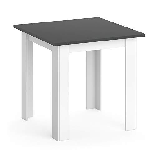 Vicco Esstisch KARLOS Esszimmertisch 80cm Wohnzimmer Küchentisch Tisch (Weiß Anthrazit)